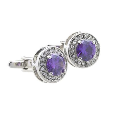 Manžetové knoflíčky fialový krystal kulatý - 1