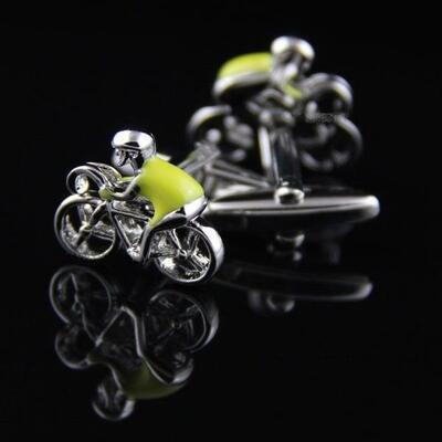 Knoflickarna.CZ Manžetové knoflíčky cyklista ve žlutém dresu 0219