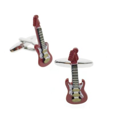 Manžetové knoflíčky elektrická kytara červená
