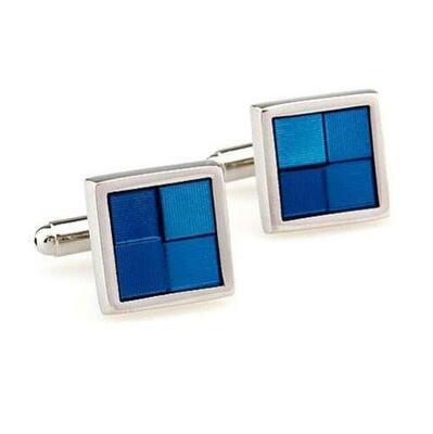 Manžetové knoflíčky modré čtverečky