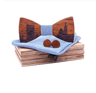 Dřevěné manžetové knoflíčky s motýlkem Riviera