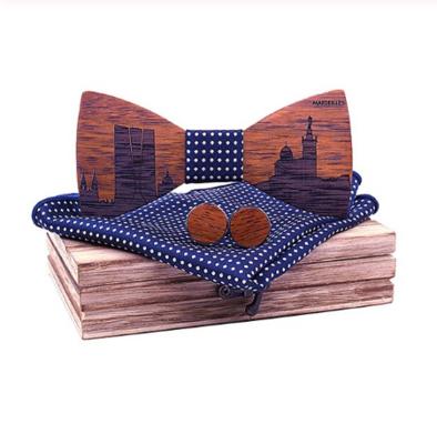 Dřevěné manžetové knoflíčky s motýlkem Philippe