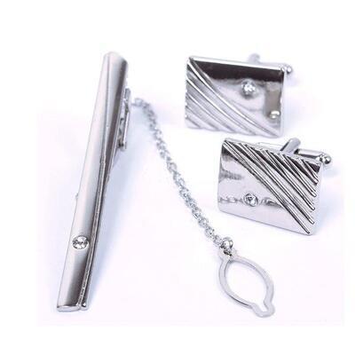 Manžetové knoflíčky obdélníkové s kamínkem a kravatovou sponou