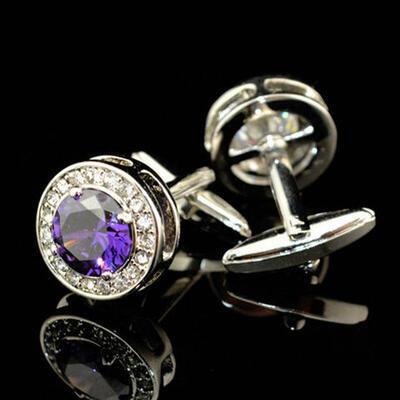 Manžetové knoflíčky fialový krystal kulatý - 2